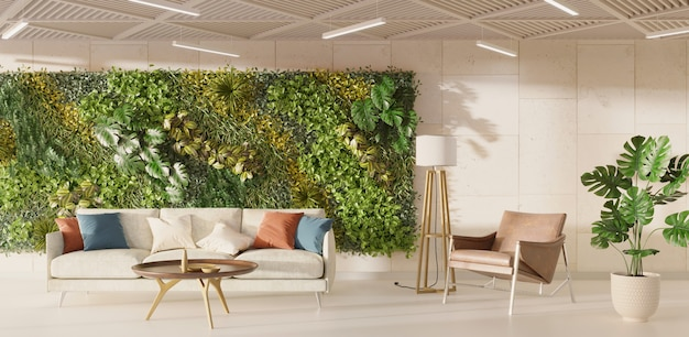 Nowoczesne wnętrze salonu z zieloną ścianą renderowania 3d