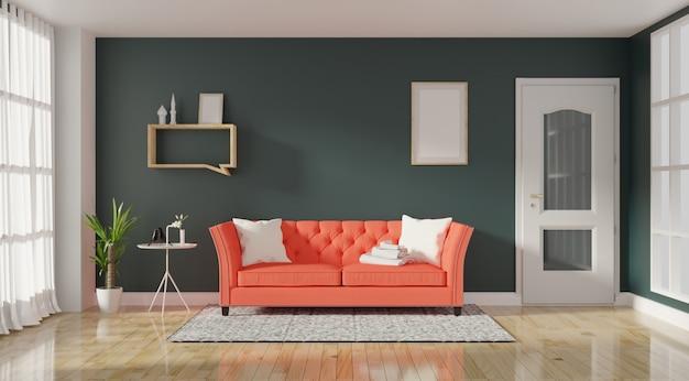 Nowoczesne wnętrze salonu z żywą kanapą koloru koralowego i zielonych roślin