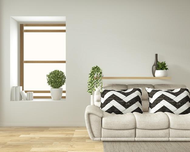 Nowoczesne wnętrze salonu zen w stylu japońskim z sofą i zielonymi roślinami