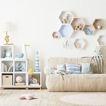 Nowoczesne wnętrze sypialni dla dzieci, pokój dziecięcy z miękkimi zabawkami, pościel, półki z książkami i zabawkami, renderowanie 3d