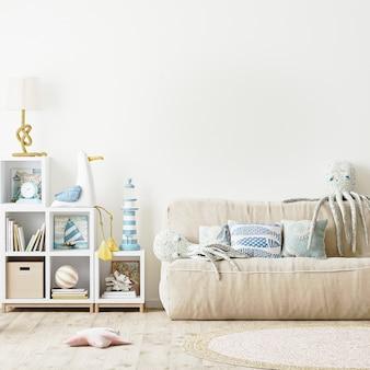 Nowoczesne wnętrze sypialni dla dzieci, pusta biała ściana w renderowaniu 3d