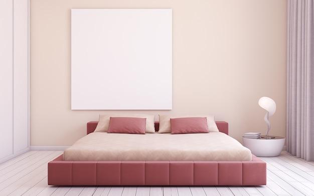 Nowoczesne wnętrze sypialni. makieta wnętrza z plakatem. renderowania 3d.