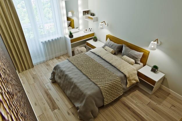 Nowoczesne wnętrze sypialni w ciepłych kolorach z boazerią.