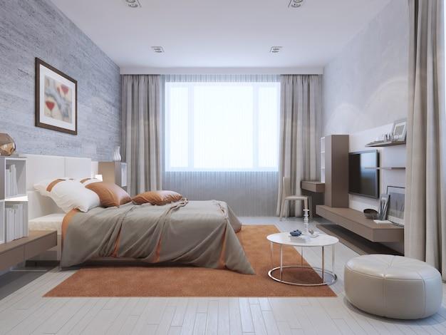 Nowoczesne wnętrze sypialni w kolorach szarym i pomarańczowym