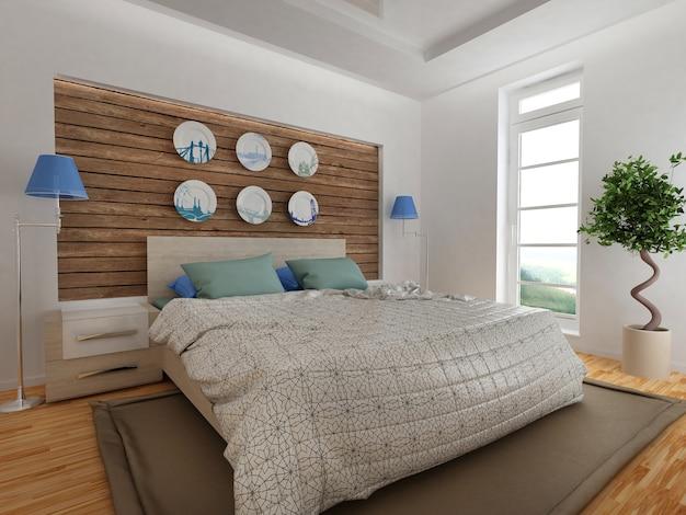 Nowoczesne wnętrze sypialni z drewnianym wystrojem w stylu eko