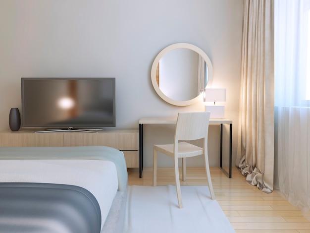Nowoczesne wnętrze sypialni z meblami i parkietem