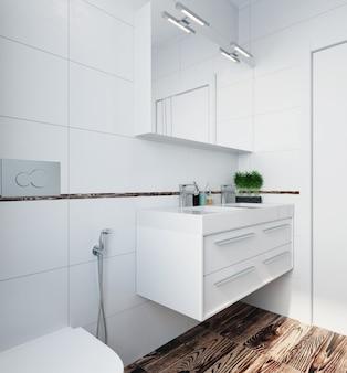 Nowoczesne wnętrze toalety z białymi kafelkami i drewnianą podłogą. renderowania 3d