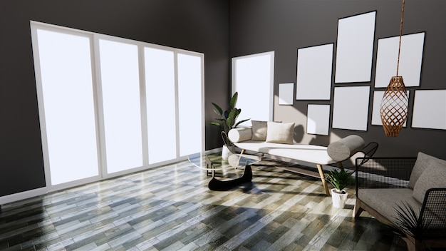 Nowoczesne wnętrze z sofą i fotelem na pokoju ciemne ściany i drewniane płytki podłogowe. renderowanie 3d
