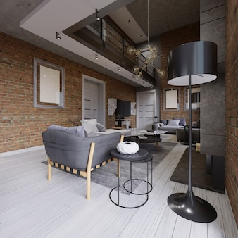 Nowoczesne, współczesne loftowe wnętrze mieszkania. renderowanie 3d