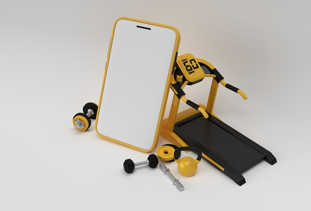 Nowoczesne wyposażenie siłowni z pustą mobilną makieta renderowania 3d.