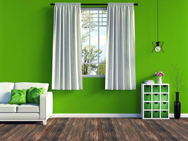 Nowoczesne zielone wnętrze salonu z białą sofą i meblami i stare drewniane podłogi