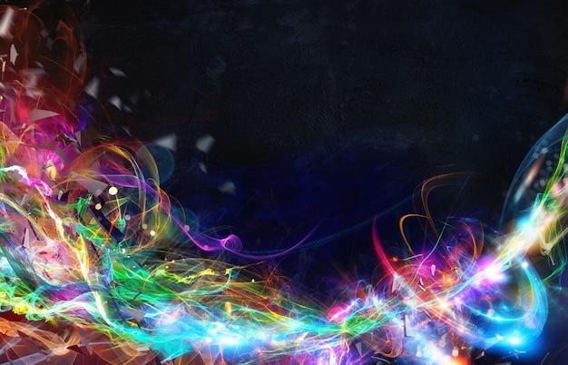 Nowoczesny abstrakcyjny kolorowy ruch światła w ciemności
