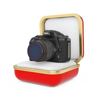 Nowoczesny aparat cyfrowy w czerwonym pudełku na białym tle. renderowanie 3d