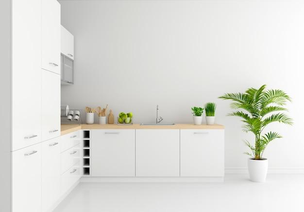 Nowoczesny biały blat kuchenny z wolną przestrzenią