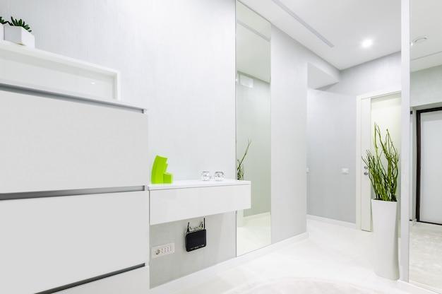 Nowoczesny biały korytarz w mieszkaniu