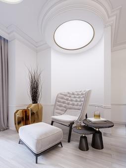 Nowoczesny biały modny fotel z podnóżkiem, niskim stolikiem z dekoracją i złotym wazonem z suchymi gałązkami. białe nowoczesne wnętrze z lampami sufitowymi. renderowania 3d.