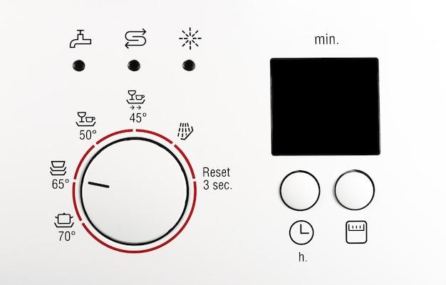 Nowoczesny biały panel przedni pralki z wyświetlaczem