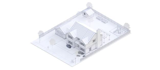 Nowoczesny biały piękny dom. ilustracja 3d.