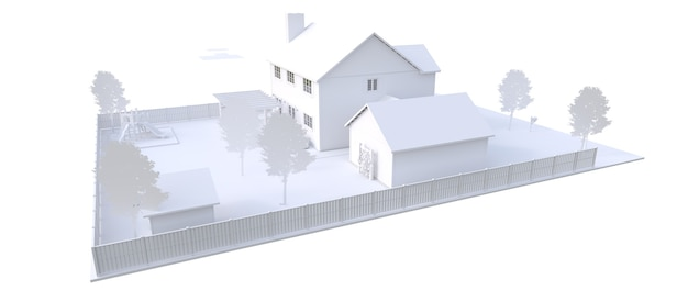 Nowoczesny biały piękny dom. ilustracja 3d