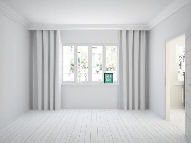 Nowoczesny biały przytulny salon z zasłonami i drewnianą podłogą