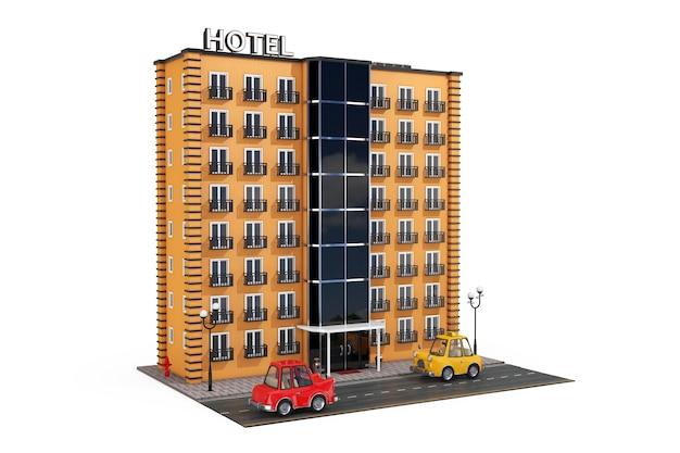 Nowoczesny budynek hotelu orange z ulicy road i samochody kreskówek na białym tle. renderowanie 3d