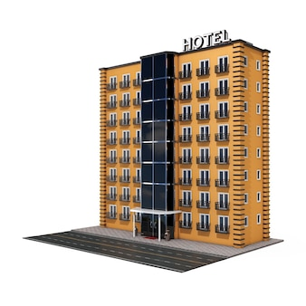 Nowoczesny budynek hotelu orange z ulicy road na białym tle. renderowanie 3d