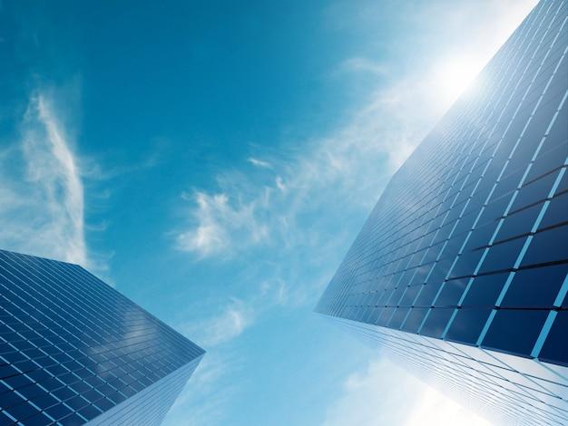 Nowoczesny budynek nieruchomości finansowych dla korporacji biznesowej z renderowaniem 3d flary obiektywu
