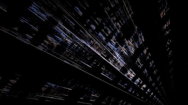 Nowoczesny cyfrowy budynek 3d miasta przyszłości, jasno świecące okna, odbicia na ścianie. renderowania 3d