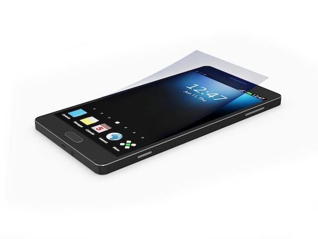 Nowoczesny, czarny smartfon z ekranem dotykowym i ochroną ekranu