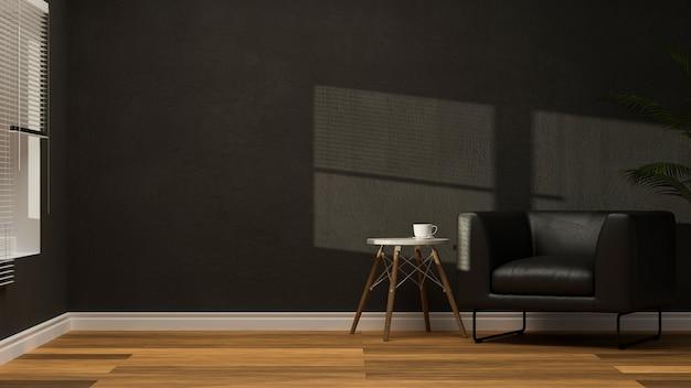 Nowoczesny czarny stylowy salon z czarnym skórzanym fotelem nowoczesny stolik 3d rendering