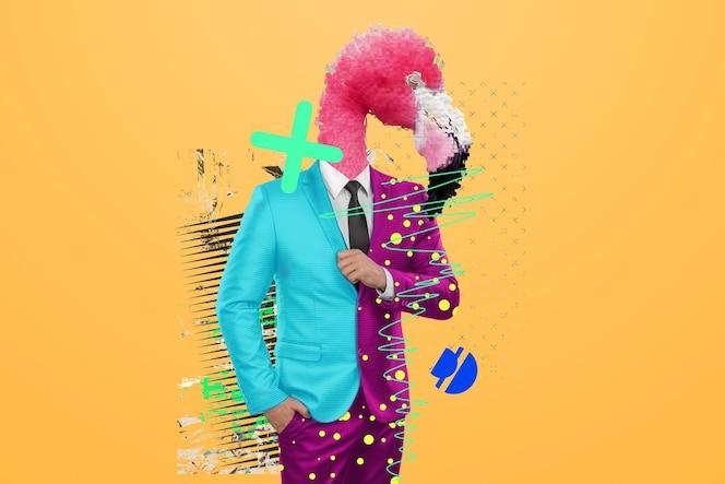 Nowoczesny design, ludzkie ciało w jasnym garniturze z głową flaminga, pewność siebie. jasne modne kolory, szokująca sztuka, styl na magazyn, modne projektowanie stron internetowych. skopiuj przestrzeń.