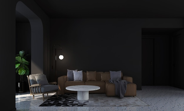 Nowoczesny dom i dekoracja makiety mebli i aranżacji wnętrz czarnego salonu i pustej czarnej ściany tekstury tła renderowania 3d