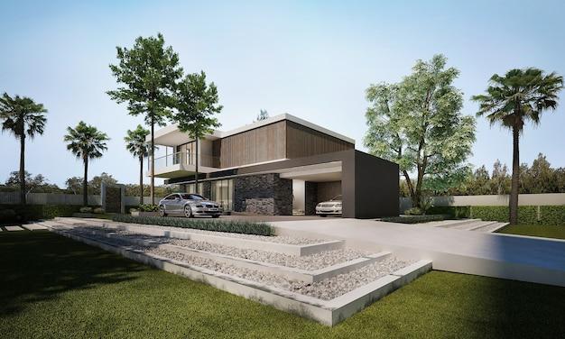 Nowoczesny dom i dekoracja oraz minimalistyczny krajobraz