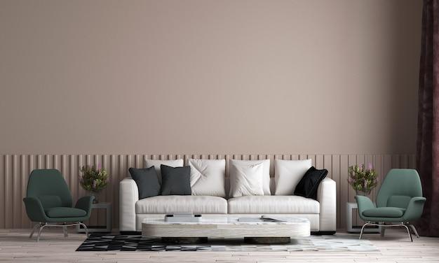 Nowoczesny dom i piękny salon i makiety projektowania wnętrz mebli i tekstury tła ściany