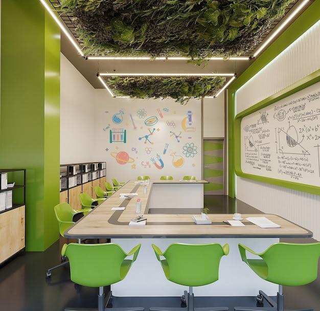 Nowoczesny gabinet z biurkiem, zielonymi krzesłami i zieloną ścianą darmowy