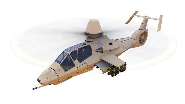 Nowoczesny helikopter wojskowy w locie z pełnym zestawem broni na białym tle. 3d ilustracji.