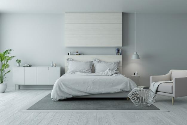 Nowoczesny i minimalistyczny wystrój sypialni, przytulna koncepcja pokoju białego i szarego