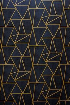 Nowoczesny i stylowy plakat abstrakcyjny ze złotymi liniami i czarnym wzorem geometrycznym