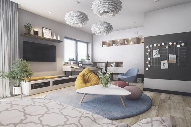 Nowoczesny i stylowy pokój
