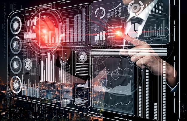 Nowoczesny interfejs graficzny pokazuje na monitorze masowe informacje o raporcie sprzedaży, wykresie zysków i analizie trendów giełdowych