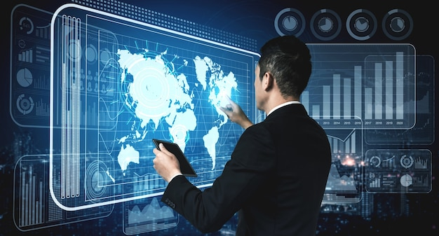 Nowoczesny interfejs graficzny pokazuje ogromną ilość informacji o raporcie sprzedaży firmy