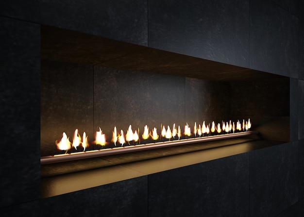 Nowoczesny kominek we wnętrzu w stylu minimalizmu lub poddasza. grill kuchenny lub kuchenny.