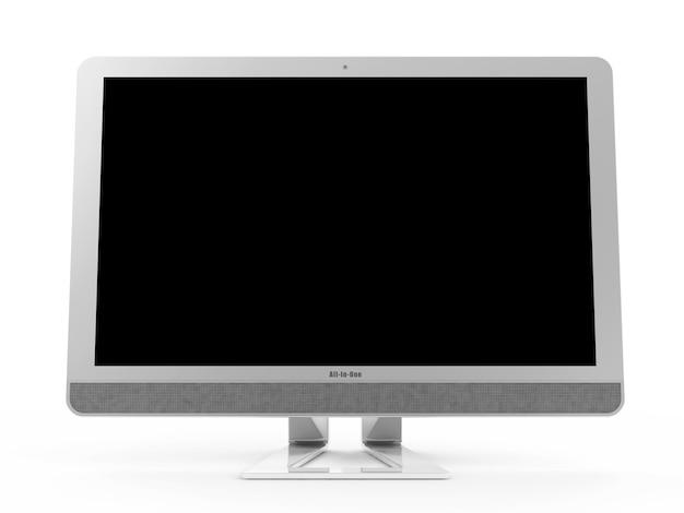 Nowoczesny komputer typu wszystko w jednym na białym tle