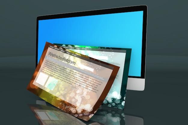 Nowoczesny komputer typu wszystko w jednym z typowymi witrynami internetowymi wychodzącymi z ekranu.