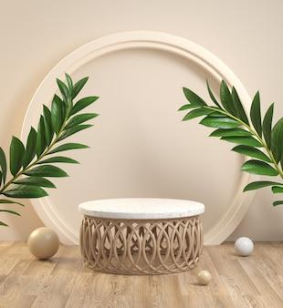 Nowoczesny kształt drewna i marmuru podium z rośliną na drewnianej podłodze. renderowanie 3d