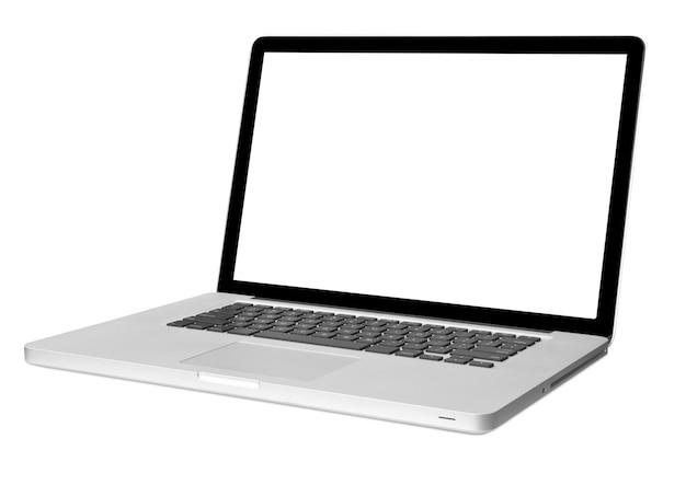 Nowoczesny laptop na białym tle z cieniem