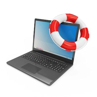 Nowoczesny laptop z czerwonym pasem ratunkowym na białym tle
