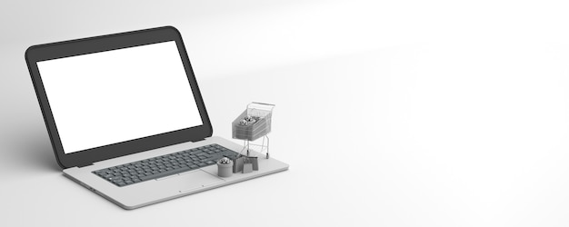 Nowoczesny laptop z elementami marketingu internetowego