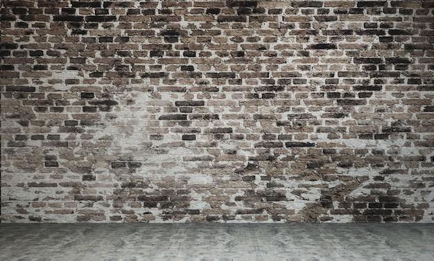 Nowoczesny loftowy projekt wnętrza pustego salonu i salonu oraz ceglanego muru