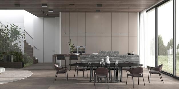 Nowoczesny luksus minimalistyczny wystrój wnętrz kuchni i jadalni 3d renderowania ilustracji.